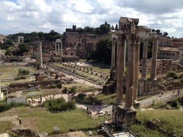 Gazing across the Forum valley from Capitoline to Palatine.